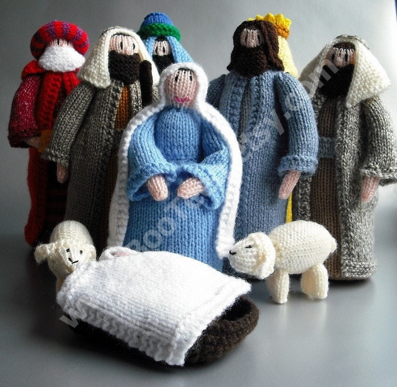 Knitting Pattern Christmas Crib Nativity Scene Booklet : Hand knitted nativity scene