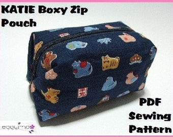 Instant Download PDF Pattern - KATIE Boxy Zip Pouch PDF Sewing Pattern - A4-size Paper Format