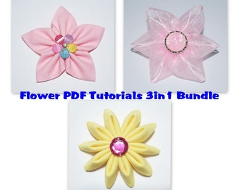 Instant Download - PDF Fabric & Ribbon Flower Tutorial Bundle of 3 - A4-size Paper Format