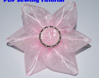 Instant Download - PDF Tutorial - Ribbon Flower 03 Sewing Pattern