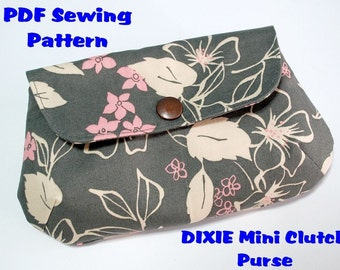 Instant Download PDF Pattern - DIXIE Mini Clutch Purse PDF Sewing Pattern - Letter-size Paper Format