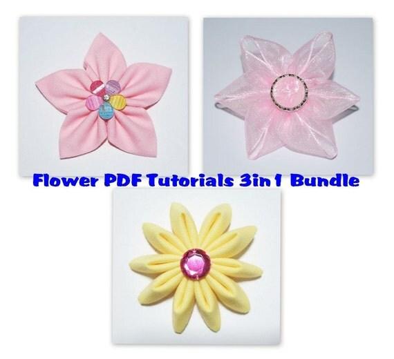 Instant Download - PDF Fabric & Ribbon Flower Tutorial Bundle of 3 - Letter-size Paper Format