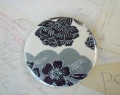 Pocket Mirror - Black and White Flowers Japanese Paper