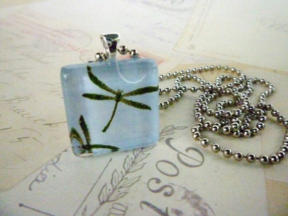 Square Handcrafted Glass Pendant with Chain - Blue Dragonfly