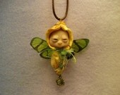 Nature spirit  Butterfly Fairy Pendant and cord one of a kind polymer clay art
