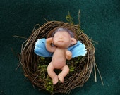 A little baby miniature scale elf troll FAIRY original polymer clay sculpture OOAK by Trolltracks
