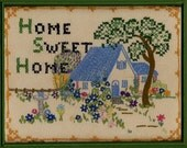 Sampler Embroidery Pattern, Home Sweet Home, Cottage and Garden