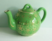 Tiny Hall China 2-Cup Teapot, Green with Gold French Flower Decoration