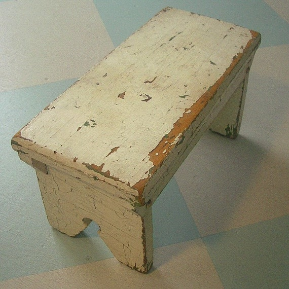 Rustic Small White Foot Stool