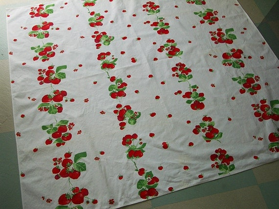 Vintage Tablecloth with Luscious Red Strawberries