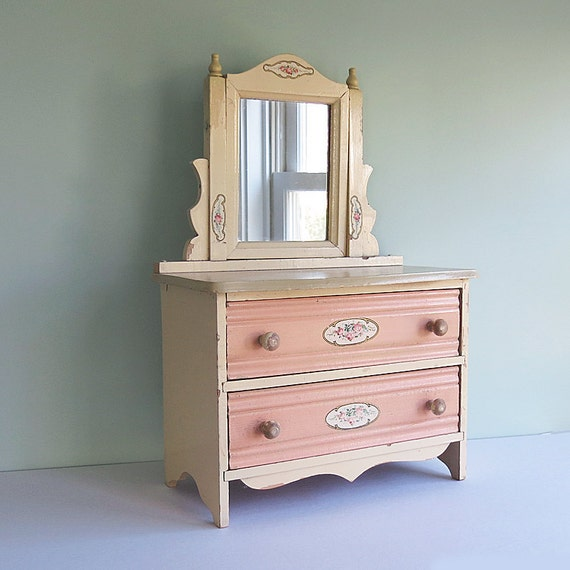 Vintage Child's Doll Dresser with Two Drawers, a Mirror, and Pink Rose Decals