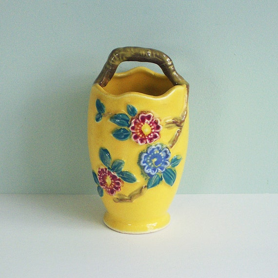 Yellow Ceramic Vase with Embossed Flowers and a Twig Handle, Made in Japan