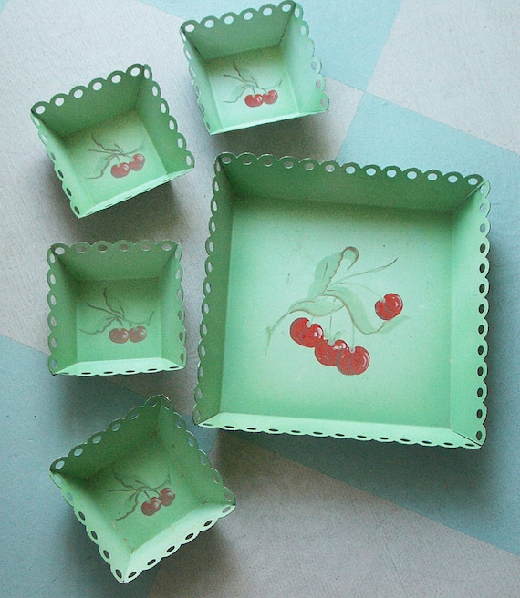 Large Metal Tall-Sided Tray and Four Small Matching Trays, Jadeite Green with Red Cherries