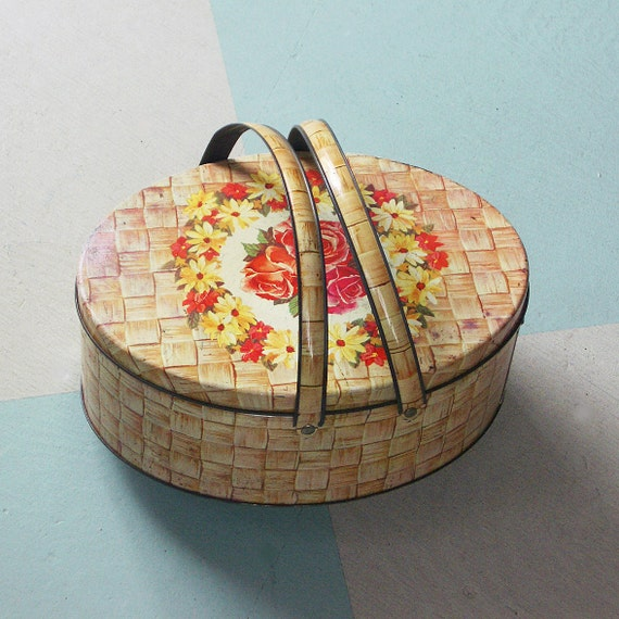 Oval Picnic Tin with Flowers and a Faux Basket Weave Design