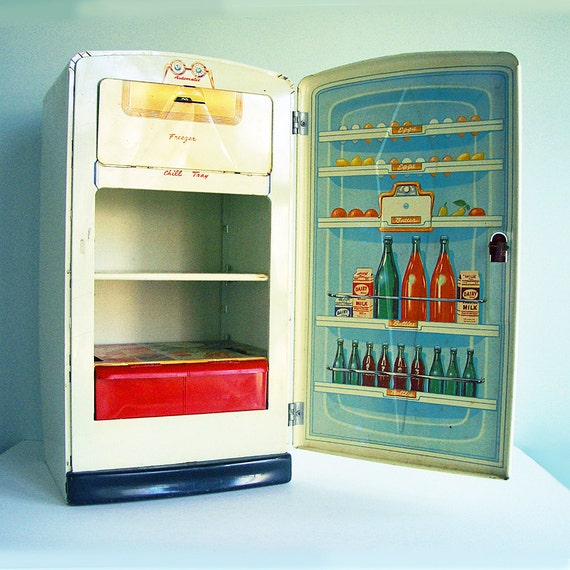 1950s Metal Toy Refrigerator Stocked with Lithographed Groceries