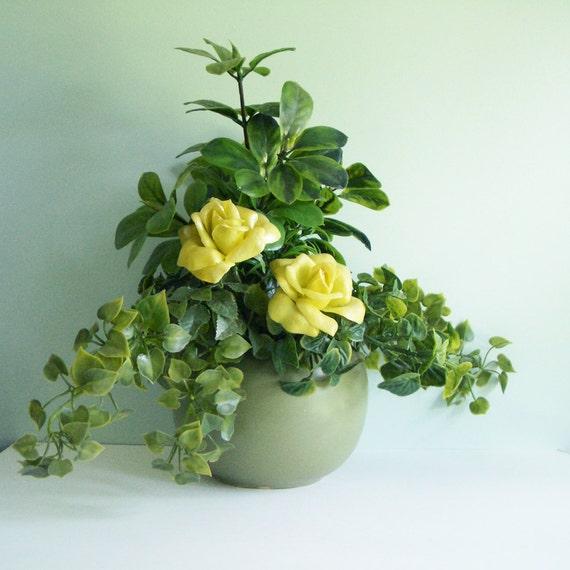 1960s McCoy Floraline Round Vase in Sage Green with a Vintage Plastic Flower Arrangement