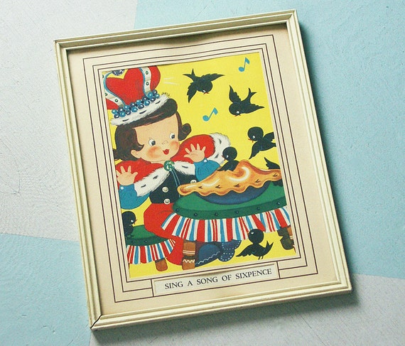 """Vintage """"Sing a Song of Sixpence"""" Framed Nursery Picture with the King, His Pie and Blackbirds"""