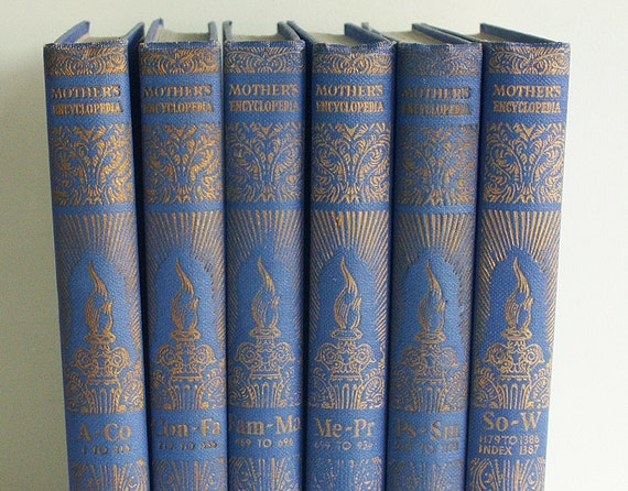 Complete Set of The Mother's Encyclopedia, Six Volumes Bound in Royal Blue