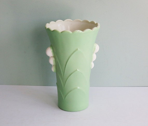 1930s Art Deco Vitrock Depression Glass Vase with a Fired-On Jadeite Green Exterior