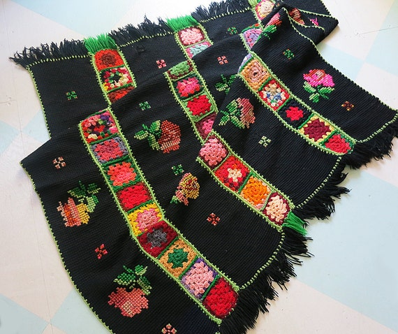 On reserve for Angela Jessee: Vintage Granny Square Hand Crochet Afghan Throw Blanket with Colorful Cross Stitch Roses