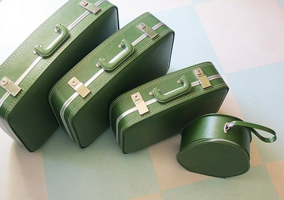 On Reserve for KTJen: Set of Four 1960s Avocado Green Matching Suitcases in Graduated Sizes