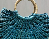 vintage straw turquoise purse with bamboo handles