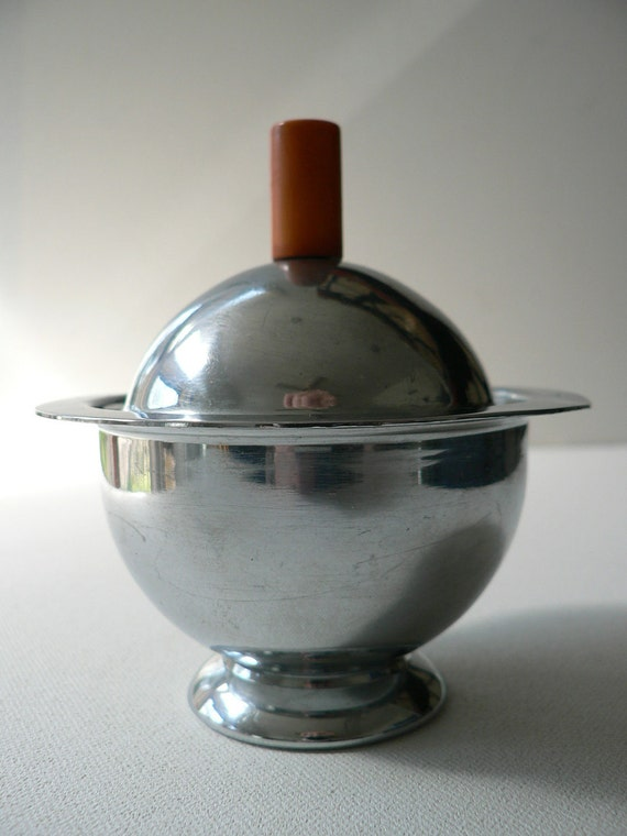 RESERVED for BETH art deco 1930s chase chrome sugar bowl with butterscotch bakelite handle russel wright