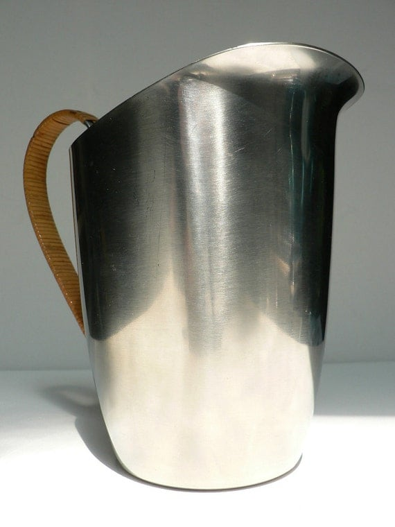 mid century modern danish stainless steel pitcher with handle lundtofte