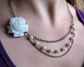 Victorian Rose Necklace . Asymmetrical triple strands of Swarovski pearl and antiqued brass