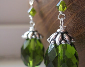 Olivine . Glass and Crystal Earrings in Olive Green and Sterling Silver