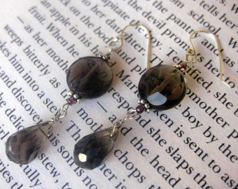 Smoke Drops. Smoky Quartz, Sterling Silver and Garnet Earrings