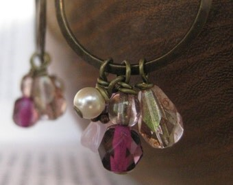 Parisian Girl Earrings . Hammered Copper Rings with Pink Glass, Swarovski Crystal and Faux Pearl