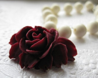 Je T'aime Necklace . Burgundy rose and creamy white vintage lucite beads
