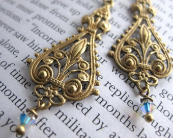 Althea Earrings . Brass Baroque Filigrees with Swarovski Crystal