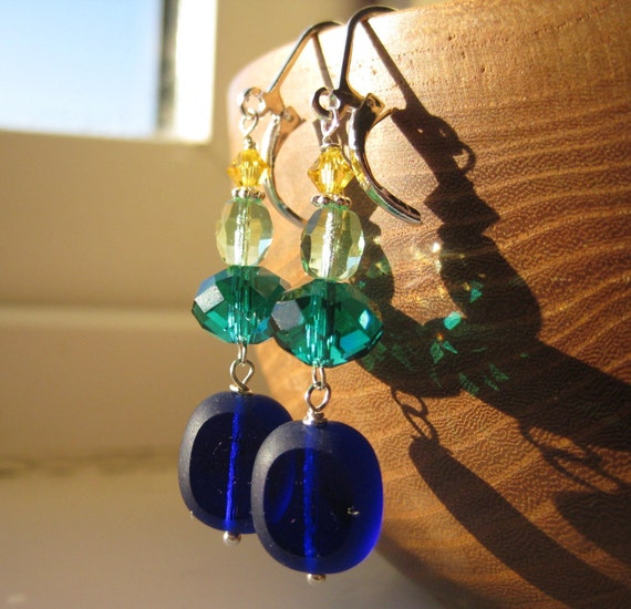 ON SALE . The Sea of Electric Dreams . Glass and Crystal Earrings in Blue and Green Hues