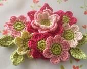 Crochet Flower Appliques in Pink --( 11 pcs )