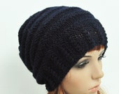 Hand Knit hat Black Cable Knit Wool Hat-ready to ship