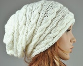 Hand knit hat - cable pattern hat in cream, slouchy hat, wool hat