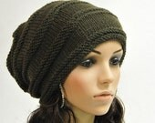 Hand knit hat Chunky Olive Green Wool Hat - ready to ship