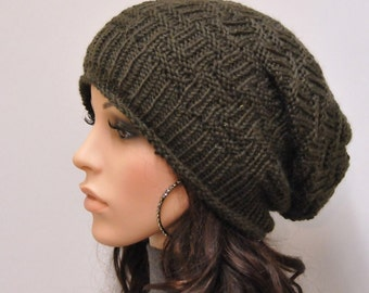 Hand knit hat woman man unisex Olive chunky slouchy wool hat