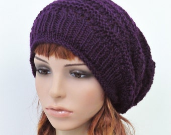 Hand Knit slouchy Wool Hat deep purple hat-ready to ship