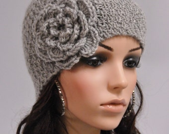 Hand knit beanie wool hat with crochet flower in grey-ready to ship