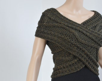 Hand knit  Cross Sweater/ vest/ Capelet/ Neck warmer in OLIVE