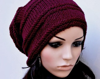Hand knit hat - Chunky Wool Hat in wine/ burgundy-ready to ship
