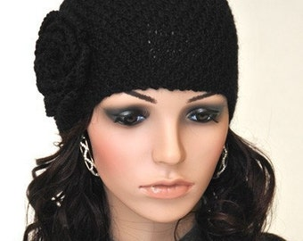 sale- Hand Knit Beanie hat with Crochet Flower Black wool hat-ready to ship