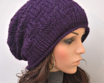 Hand Knit hat woman winter hat slouchy hat Chunky Wool Hat  purple hat -ready to ship