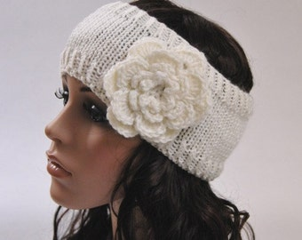 Final sale - White Head Band with flower - ready to ship
