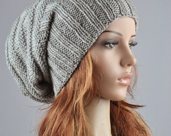 Hand knit hat woman winter hat Light Grey Chunky Wool Hat slouchy hat - ready to ship