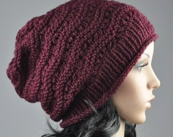 Burgundy Chunky Hat weaving pattern slouchy hat wool hat- ready to ship