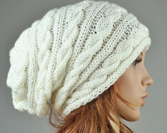 Hand knit woman hat cable pattern hat in cream, slouchy hat, wool hat